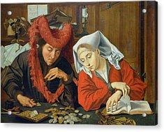 The Banker And His Wife Acrylic Print by Marinus van Roejmerswaelen