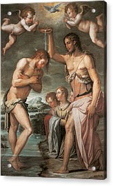 The Baptism Of Christ Acrylic Print by Giorgio vasari