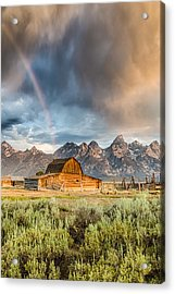 The Barn At The End Of The Rainbow Acrylic Print by Andres Leon