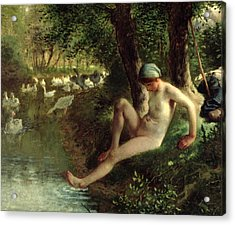 The Bather Acrylic Print by Jean Francois Millet