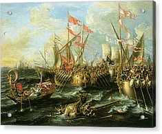 The Battle Of Actium 2 September 31 Bc Acrylic Print by Lorenzo Castro