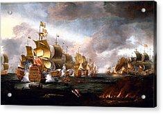 The Battle Of Lowestoft Acrylic Print by Adriaen van Diest