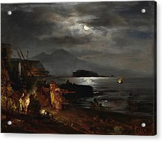 The Bay Of Naples In The Moonlight  Acrylic Print by Celestial Images