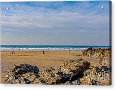 The Beach At Porthtowan Cornwall Acrylic Print by Brian Roscorla