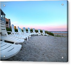 The Beach Chairs Acrylic Print by Betsy Knapp