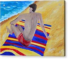 The Beach Towel Acrylic Print by Donna Blackhall