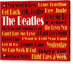 The Beatles 20 Classic Rock Songs 2 Acrylic Print