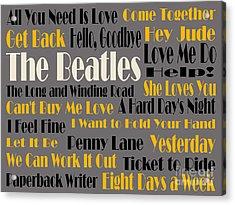 The Beatles 20 Classic Rock Songs 4 Acrylic Print