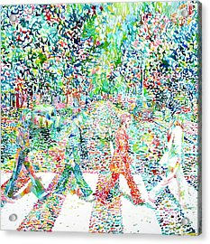 The Beatles - Abbey Road - Watercolor Painting Acrylic Print