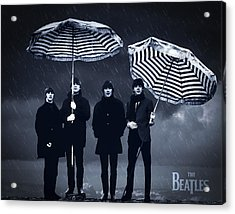 The Beatles In The Rain Acrylic Print by Aged Pixel