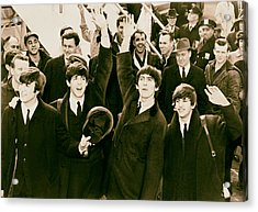 The Beatles Land In America - 1964 Acrylic Print by Mountain Dreams