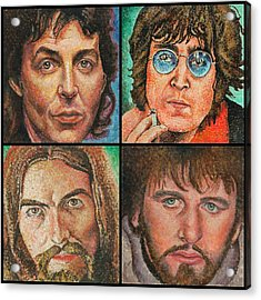 Acrylic Print featuring the painting The Beatles Quad by Melinda Saminski