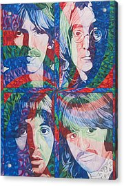 Acrylic Print featuring the drawing The Beatles Squared by Joshua Morton