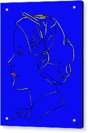 The Beautiful Virgin Chambermaid Blue Acrylic Print by Sir Josef - Social Critic - ART