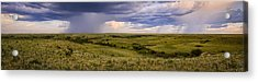 The Beginnings - Flint Hills Storm Pano Acrylic Print by Scott Bean