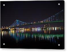 The Ben Franklin Bridge At Night Acrylic Print by Bill Cannon