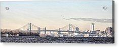 The Ben Franklin Bridge From Penn Treaty Park Acrylic Print by Bill Cannon
