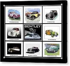 Bentley Poster Of Classics Acrylic Print by Jack Pumphrey