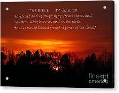 The Bibles Says.... Daniel 6 Vs 27 Niv Acrylic Print by Reid Callaway