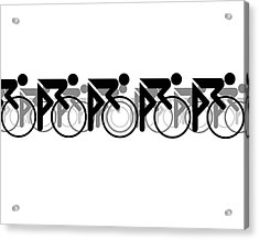 Acrylic Print featuring the digital art The Bicycle Race 2 White by Brian Carson