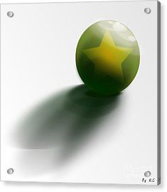 Acrylic Print featuring the digital art Green Ball Decorated With Star White Background by R Muirhead Art