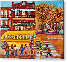 The Big Yellow School Bus Street Scene Paintings Of Montreal Acrylic Print by Carole Spandau
