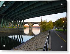 The Bike Path Along The Schuylkill River Acrylic Print by Bill Cannon