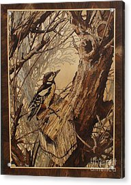 The Bird And Tree Marquetry Wood Work Acrylic Print by Persian Art