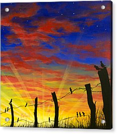 The Birds - Red Sky At Night Acrylic Print by Jack Malloch