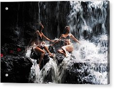 The Birth Of The Double Star. Anna At Eureka Waterfalls. Mauritius. Tnm Acrylic Print by Jenny Rainbow