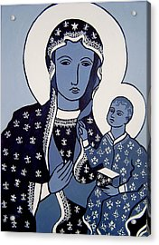 The Black Madonna In Blue Acrylic Print by John  Nolan