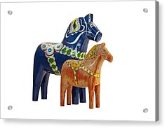 The Blue And Red Dala Horse Acrylic Print
