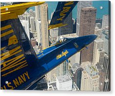 The Blue Angels Over Chicago Acrylic Print by Specialist 1st Class Michael Lindsey