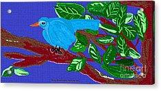 The Blue Bird Acrylic Print by Sherry  Hatcher