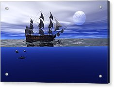 Acrylic Print featuring the digital art The Blue Deep by Claude McCoy