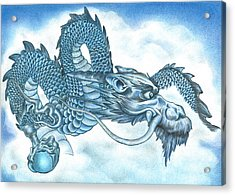 Acrylic Print featuring the drawing The Blue Dragon by Troy Levesque