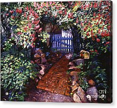 The Blue Garden Gate Acrylic Print by David Lloyd Glover