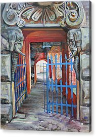 Acrylic Print featuring the painting The Blue Gate by Marina Gnetetsky
