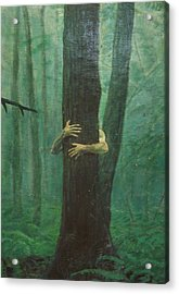 The Blue-green Forest Detail Acrylic Print by Derek Van Derven