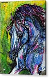 The Blue Horse On Green Background Acrylic Print by Angel  Tarantella