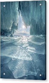 The Blue Ice Cave At Lake Baikal Acrylic Print by Coolbiere Photograph