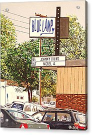 The Blue Lamp In Midtown Acrylic Print by Paul Guyer