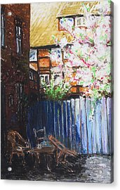 The Blue Paling - Backyard Of The Arthouse Buetzow Acrylic Print by Barbara Pommerenke