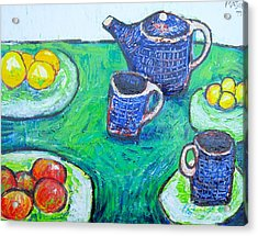The Blue Teapot Acrylic Print by Clarence Major