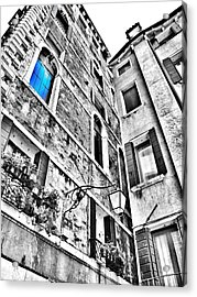 The Blue Window In Venice - Italy Acrylic Print by Marianna Mills