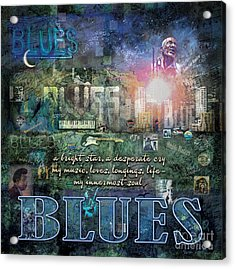 The Blues Acrylic Print by Evie Cook