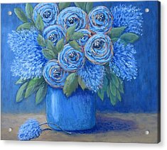 Acrylic Print featuring the painting The Blues by Suzanne Theis