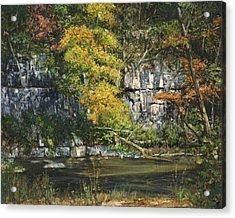 The Bluffs River Trail Acrylic Print by Don  Langeneckert