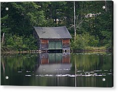 Acrylic Print featuring the photograph The Boat House On Mt Chocorua Lake by Denyse Duhaime