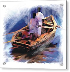 Acrylic Print featuring the painting The  Boatmen by Bob Salo